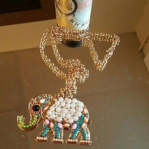 Jeweled elephant necklace